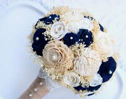 brides bouquet navy gold sola flower forever wedding bouquet