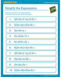 simplify the expressions u2013 free middle math worksheets