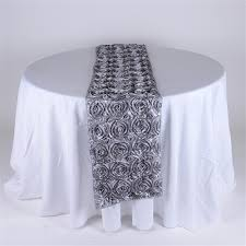 wholesale table runners rosette satin fuzzy fabric