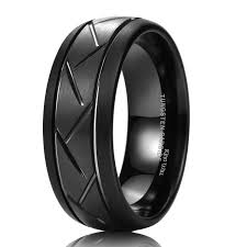 superman wedding band king will tyre 8mm black domed tungsten carbide ring matte finish