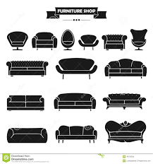 luxury modern sofa and couch icons set vintage fu stock vector