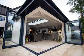oak bifold doors with glass grey aluminium corner bifolds doors cheshire outdoor design
