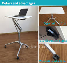 pneumatic sit stand height adjustable rolling laptop cart mobile