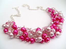 necklace pearl pink images Hot pink pearl beaded necklace hot pink bridesmaid jewelry jpg