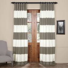 slate gray and off white 50 x 120 inch horizontal stripe curtain