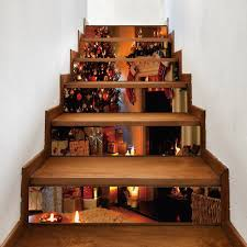 christmas tree fireplace pattern stair stickers brown cm pcs in