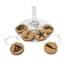 cork nautical wine glass charms set of 6 jetty home