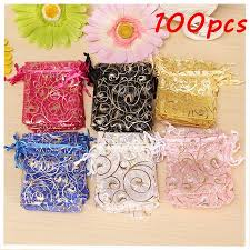 organza favor bags 100pcs organza bags assorted colors wedding sheer organza favor