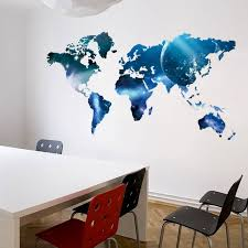 Home Decor Wall Decoration Blue World Map Wall Stickers For