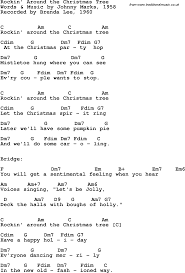 song lyrics with guitar chords for rockin u0027 around the christmas