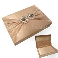 wedding invitations box cappuccino color thai silk wedding invitation box with crown pair