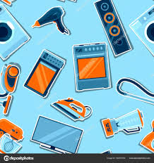 seamless pattern with home appliances household items for sale