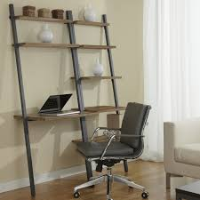 simple brown wooden ladder shelf with computer desk combined most