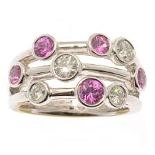 18ct white gold diamond amethyst stunning pink sapphire u0026 diamond bubble ring in 18ct white gold
