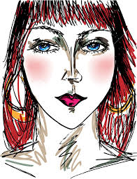 sketch of beautiful woman face vector illustration royalty free