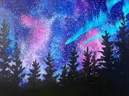 beginners learn to paint acrylic aurora borealis landscape the