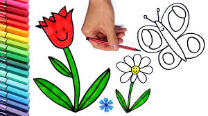 how to draw flowers and butterfly coloring page for children