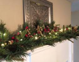 garlands with lights for mantle happy holidays