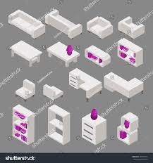 icon set isometric design furniture home stock vector 338674754
