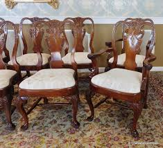 Queen Anne Dining Room Set 10 Imported 1990s Carved Mahogany Queen Anne Style Dining Room