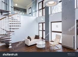 stairs spacious living room contemporary mansion stock photo