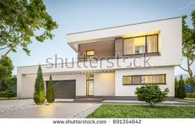 House With Garage 3d Rendering Modern Cozy House Garage Stock Illustration 572774839