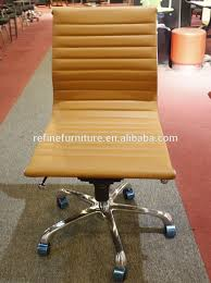 brown leather armless desk chair china low back modern armless leather office chair for motel rf