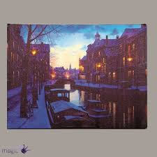 40x30cm canvas snowy snow canal scene with 6 leds christmas xmas