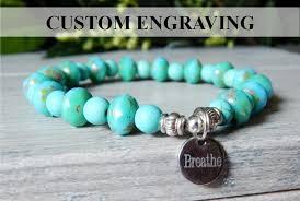 turquoise bead bracelet images Custom engraved turquoise bracelet by stoneriverjewelry jpg