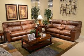 Leather Reclining Sofa Set by Catnapper Nolan Leather Extra Wide Reclining Sofa Set Chestnut