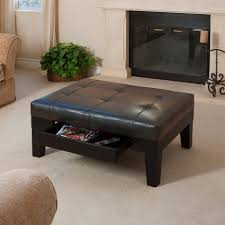 decor of black leather ottoman coffee table with black leather
