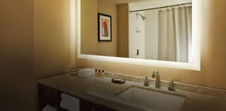 rectangular bathroom mirror with lighted frame for small bathroom