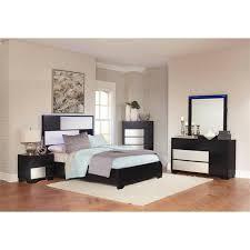 coaster havering 5 piece king led panel bedroom set in black