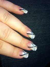 nails white frosted tips with blue silver gold and black line