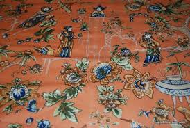 Vintage Drapery Fabric Wb145x Vintage Chintz Toile Asian People Scotchguard Orange Yellow