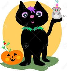happy halloween black cat and mouse royalty free cliparts vectors