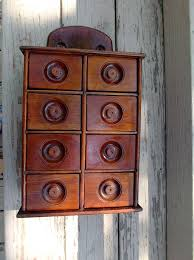 antique wood spice cabinet kitchen home decor from saltymaggie on