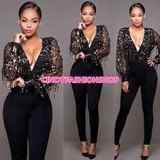 sleeve sequin jumpsuit v neck sleeve sequin jumpsuit black tassels