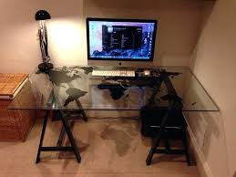 Glass Top Computer Desk Ikea Computer In Glass Desk Office Glass Desk Glass Office Desk Ideas