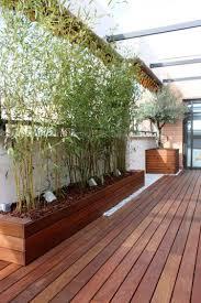 sichtblende balkon sichtschutz balkon bambuspflanzen holz terrasse verglasung baeume