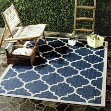 7 X 9 Outdoor Rug Safavieh Courtyard Moroccan Pattern Navy Beige Indoor Outdoor
