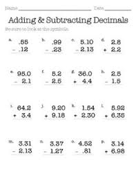 5th grade subtraction adding and subtracting with decimals worksheets this worksheet was