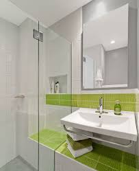 modern tile shower with block sink bathroom contemporary and
