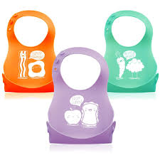 Creatively Designed by 3 Pack Soft Silicone Roll Up Baby Toddler Bibs Creatively Designed