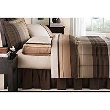Tan Comforter Amazon Com Brown Black Tan Grey Stripe Plaid Ombre Comforter And