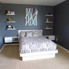 teenage boys bedroom white furniture platform bed floating