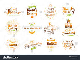 thanksgiving phrase thanksgiving day typography set labels logo stock vector 490122565