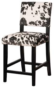 linon home decor products inc walt walnut gray bar stool linon home clayton black cow print stool view in your room houzz