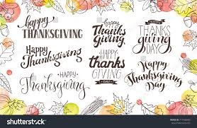thanksgiving wording isolated on white happy stock vector