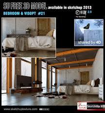 sketchup 3d model bedroom 21 and visopt render by 4d loft